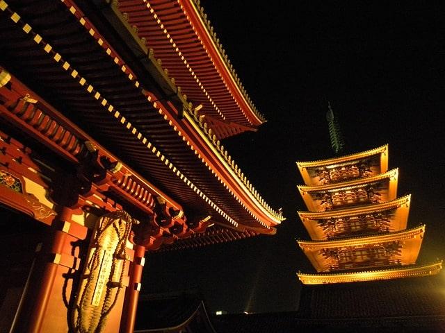 夜の寺の風景